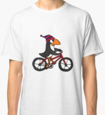 Funny Penguin Riding a Red Bicycle Classic T-Shirt