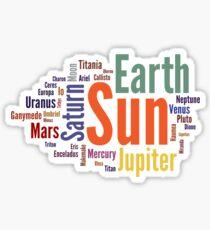 Solar System Word Cloud Sticker
