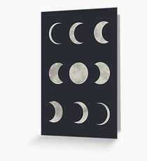 Moon Art, Moon Phases, Space Art, Moon Phases Wall Art Greeting Card