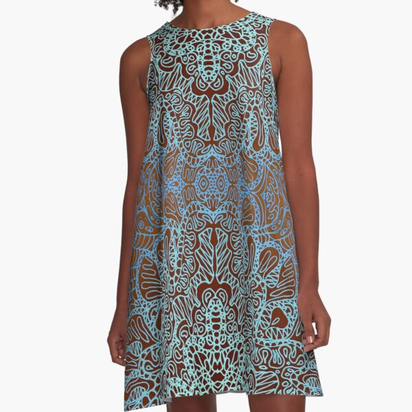 Mehndi Ethnic Style A-Line Dress
