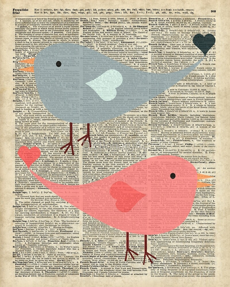 Cartoon Birds in love over encyclopedia page by DictionaryArt