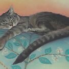Cat on a Pillow by Pam Humbargar