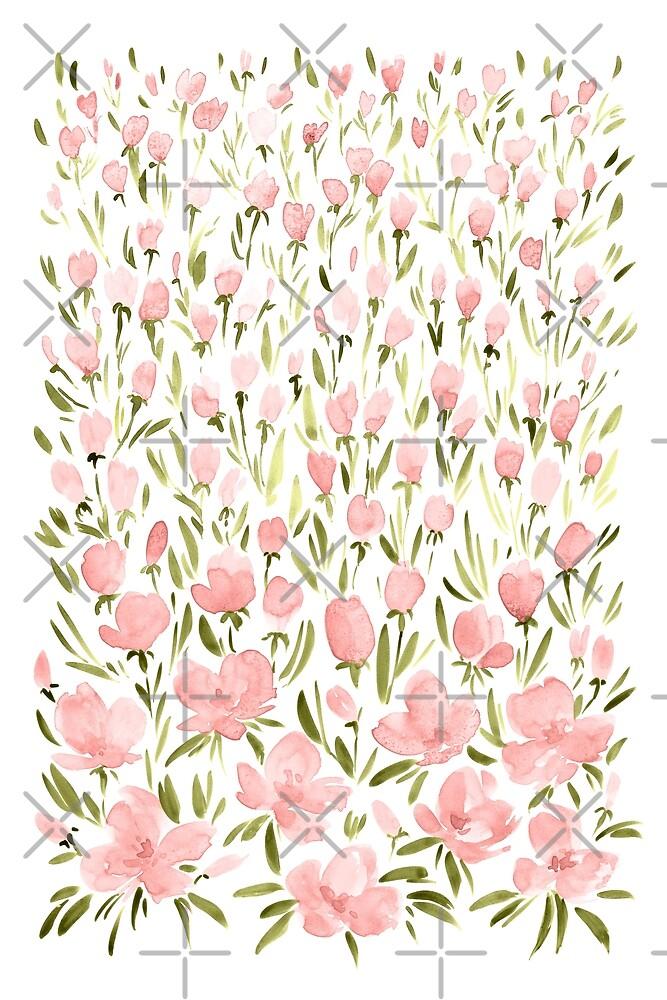 Field of pink flowers by blursbyai