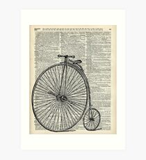 Vintage Penny Farthing bicycle,monocycle dictionary art Art Print