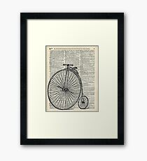 Vintage Penny Farthing bicycle,monocycle dictionary art Framed Print