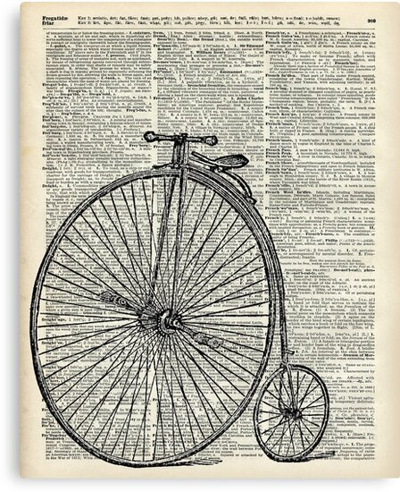 Vintage Penny Farthing bicycle,monocycle dictionary art by DictionaryArt