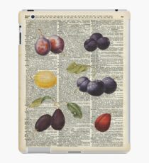 Plums vintage illustration Over a Old Dictionary Page iPad Case/Skin