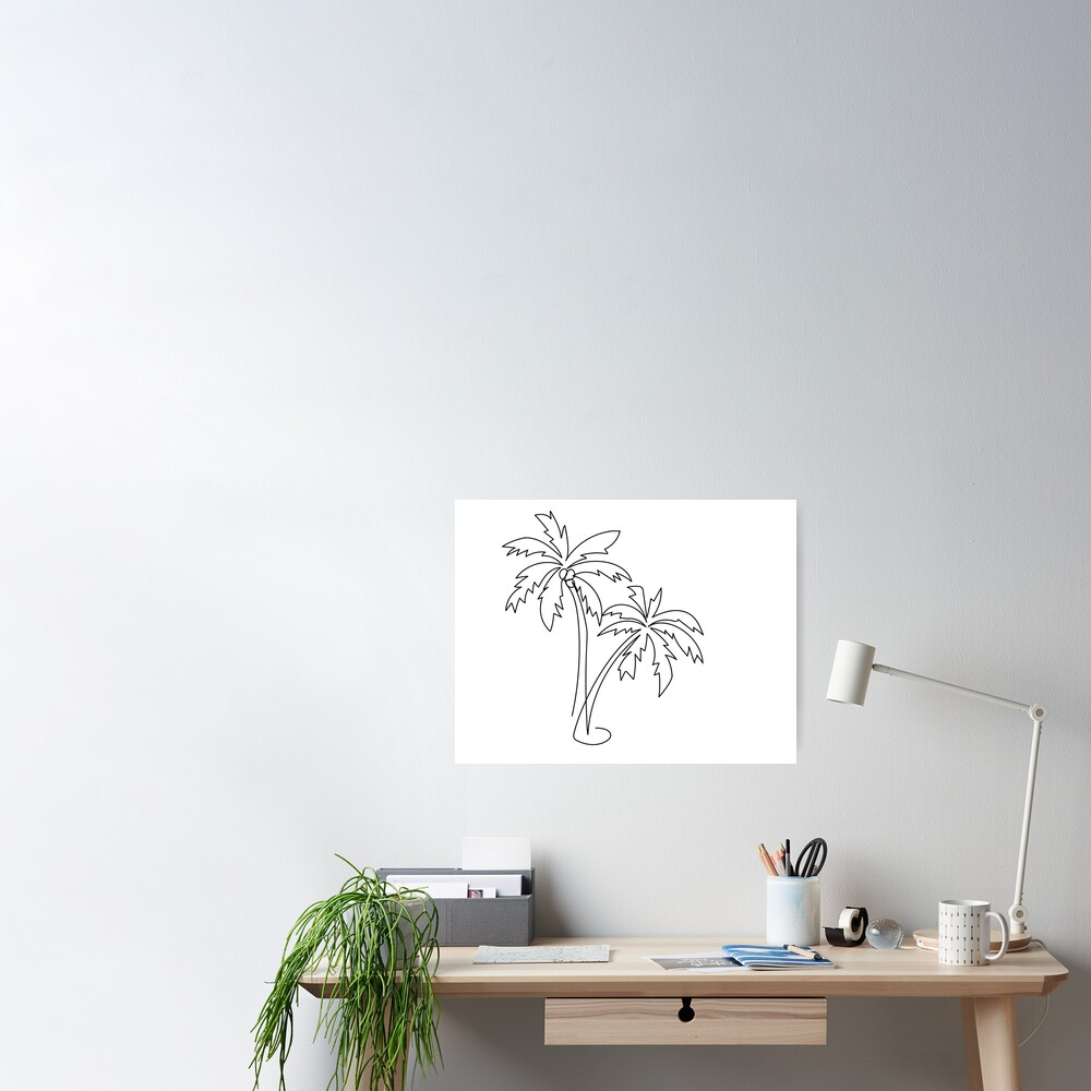 Palm tree continuous line drawing Poster