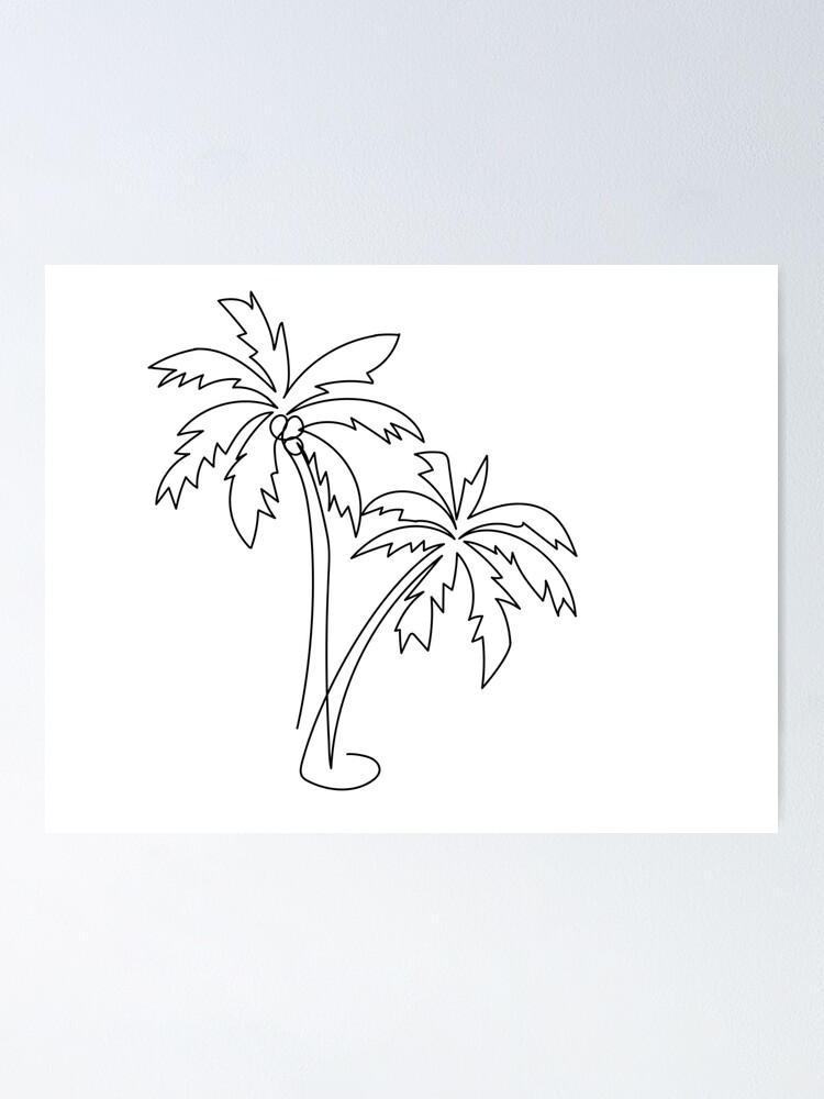 Alternate view of Palm tree continuous line drawing Poster