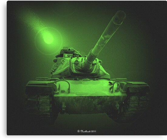 Night Patrol In A M48A2 by Betty Northcutt