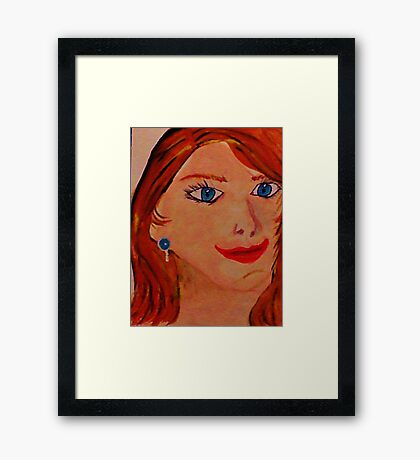 Just another pretty face in the crowd, watercolor Framed Print