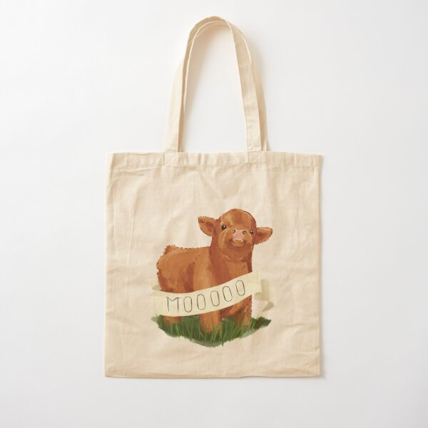 Baby Highland Cow Cotton Tote Bag