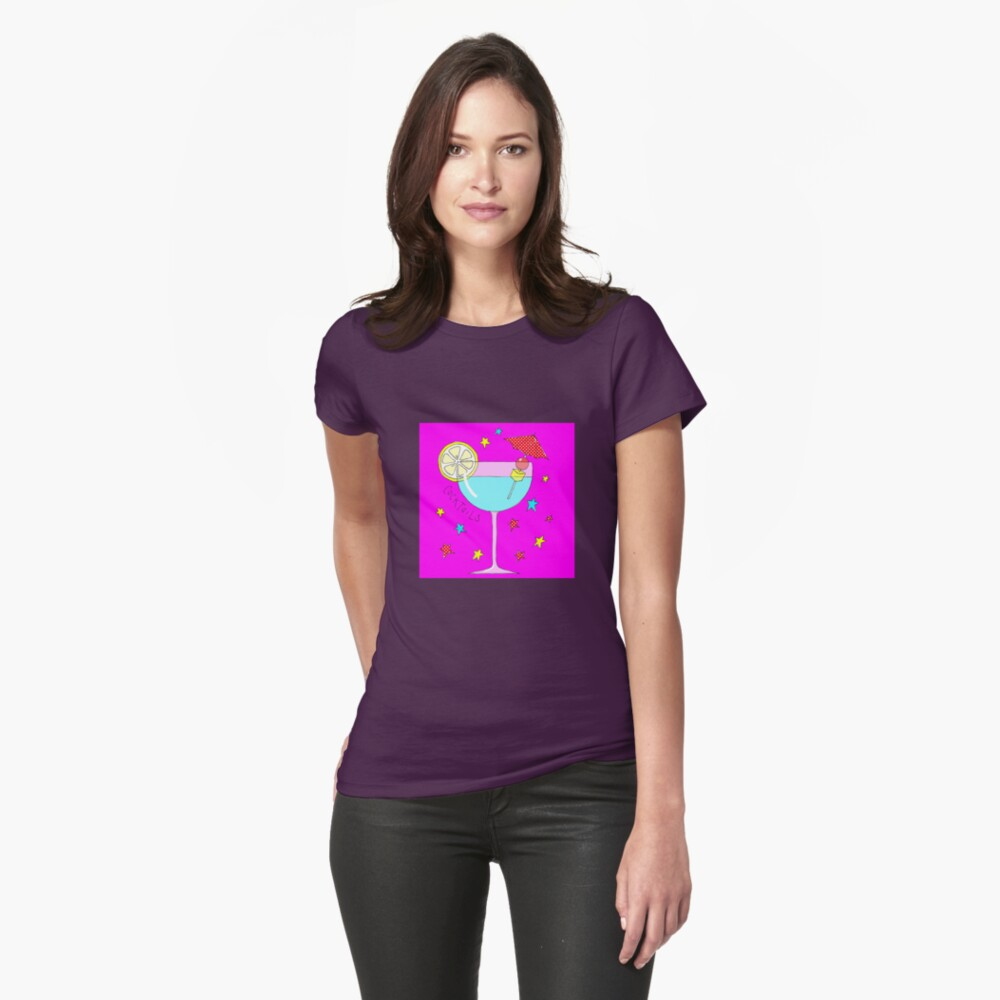 Pretty cocktail on bright pink Womens T-Shirt Front
