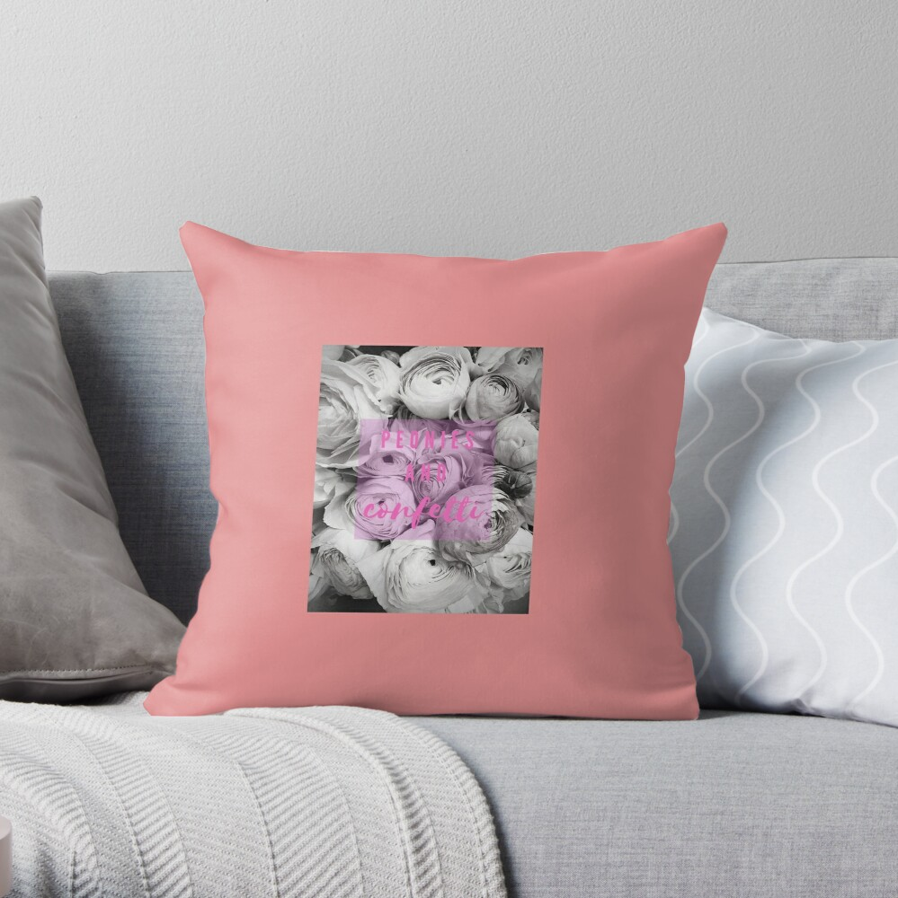 Peonies and Conffetti Throw Pillow