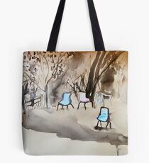 chairs on coloured paper Tote Bag