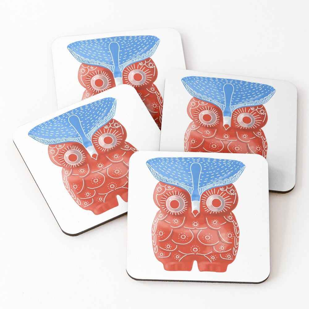 Red Owl  Coasters (Set of 4)