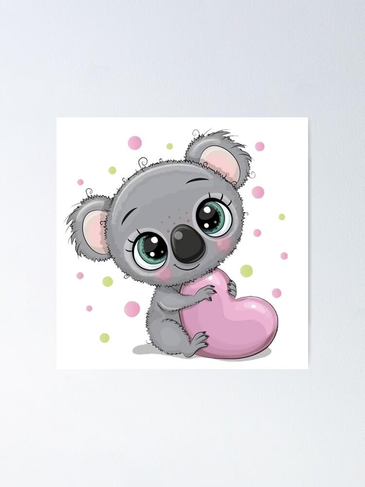 Vista alternativa de Póster Lindo bebé koala con corazón