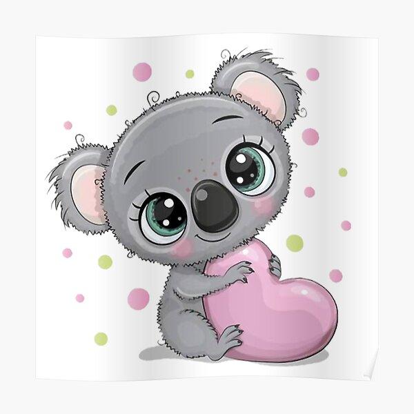 Lindo bebé koala con corazón Póster