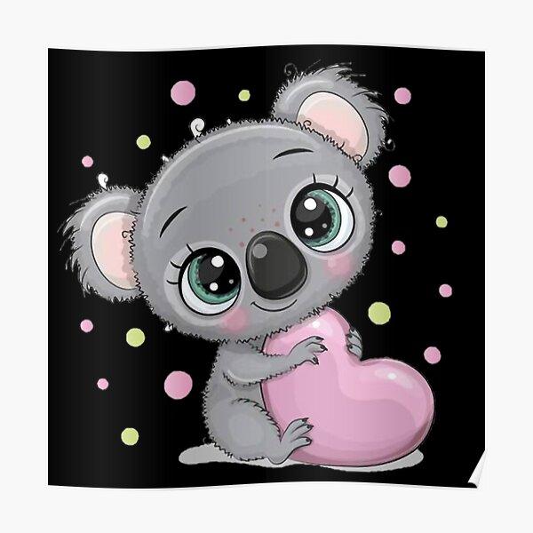 Lindo Koala Bebé Con Corazón Rosa Póster