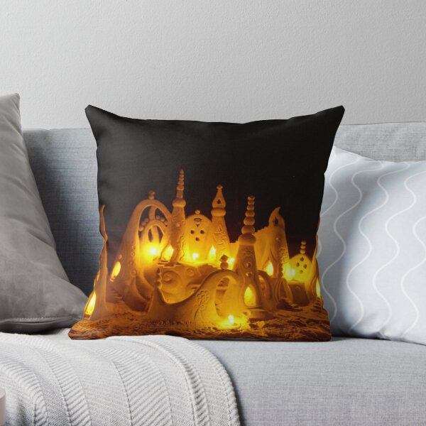 Sand castle at night Throw Pillow