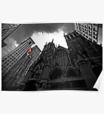 First Presbyterian Church: Black White Version with USA Color Flag Poster