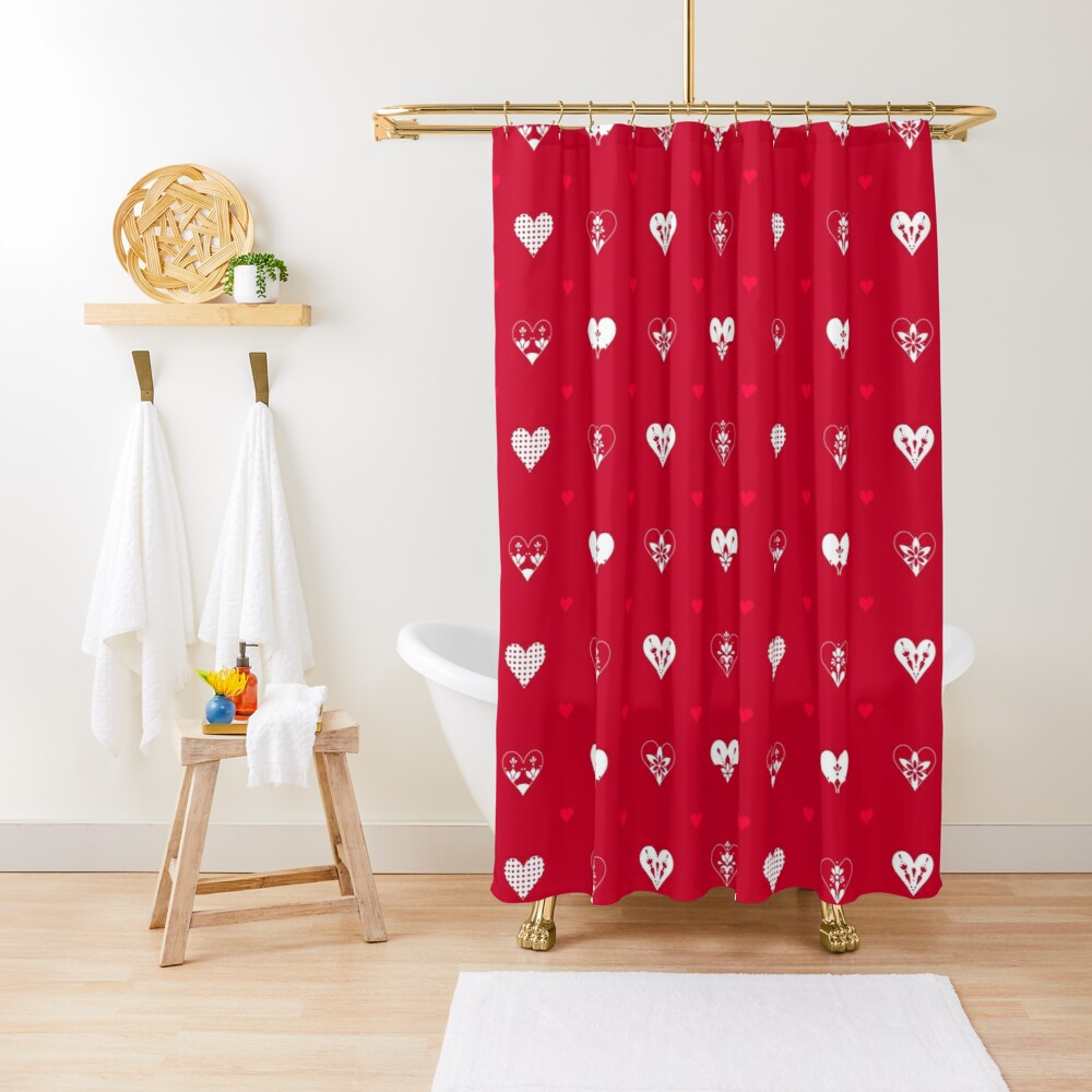 Valentines Day Hearts- Red Shower Curtain
