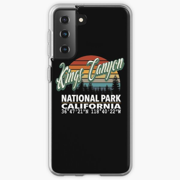 Vintage Classic Retro Color Kings Canyon National Park with GPS Location Design Samsung Galaxy Soft Case