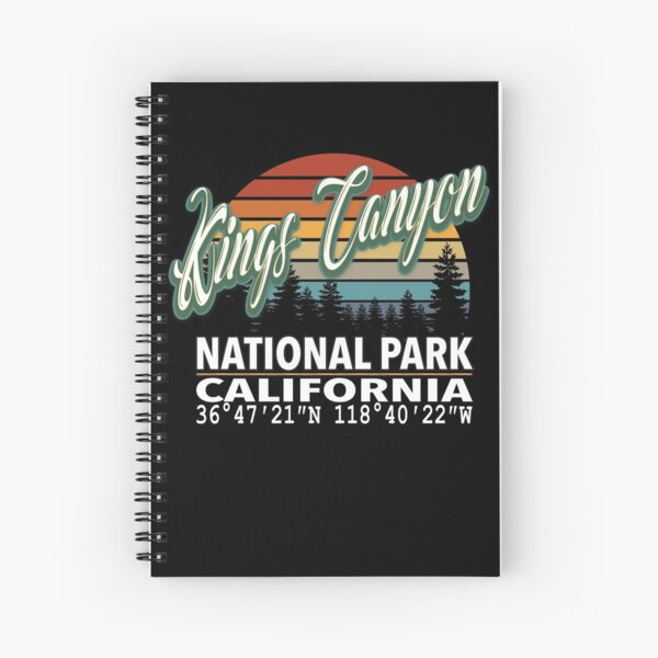 Vintage Classic Retro Color Kings Canyon National Park with GPS Location Design Spiral Notebook
