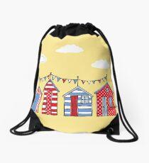 beach huts Drawstring Bag