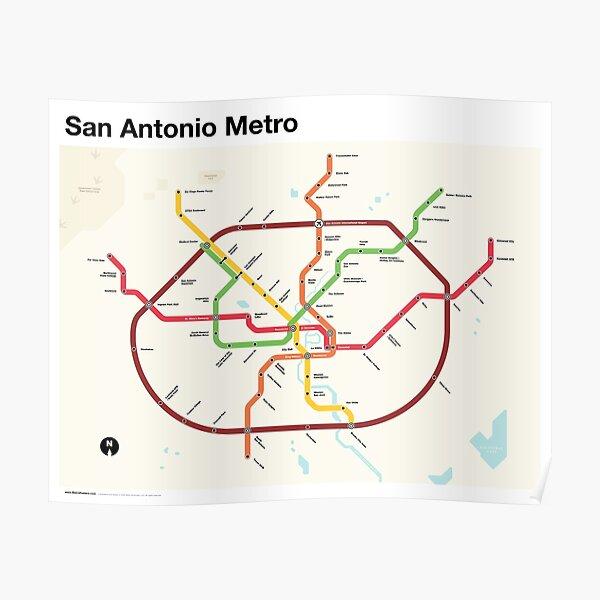 San Antonio Metro (Fantasy Subway Map, San Antonio, Texas) Poster