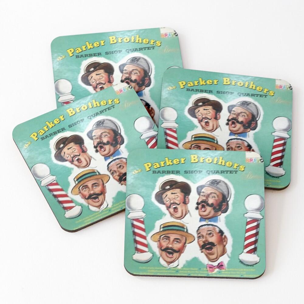 Parker,  Brothers, Barber Shop Quartet, Barber shop, Barber Pole, Quartet, Moustache Coasters (Set of 4)