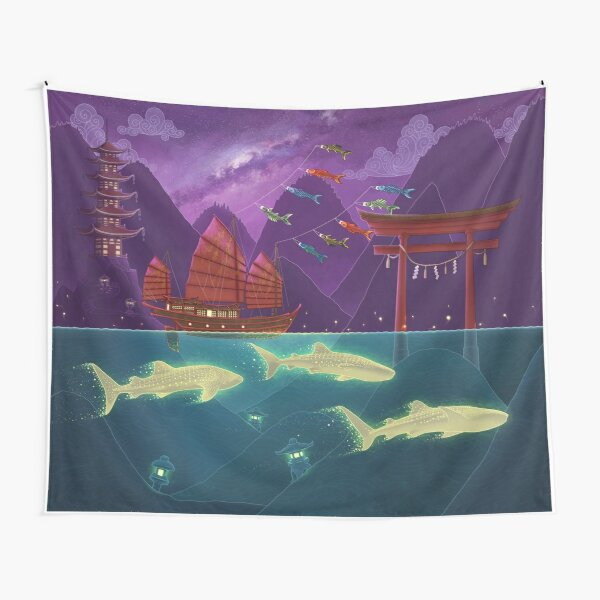 Junk Ship and Glow Sharks Tapestry