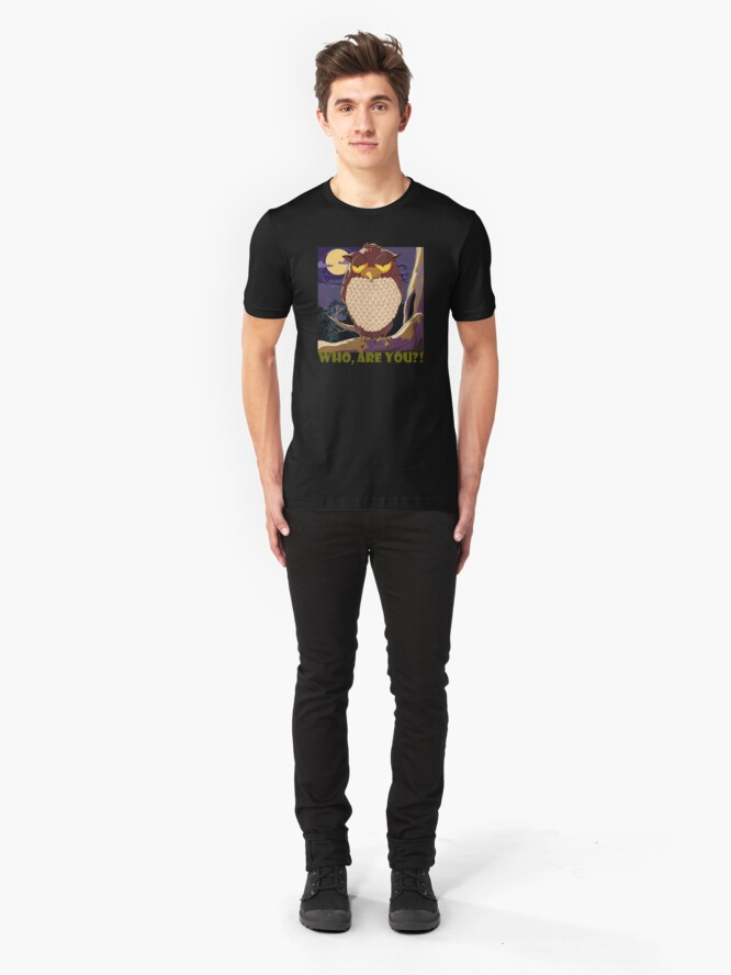 Alternate view of Who Are You, Owl Slim Fit T-Shirt