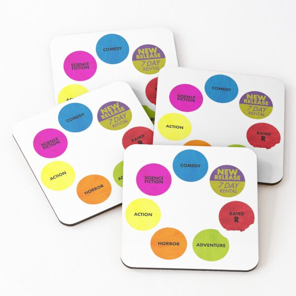 Video Store Rental Stickers Coasters (Set of 4)