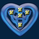 Blue Heart Celtic Knotwork with Yellow Flowers by anankeblue