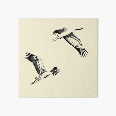 two flying crane - ink painting Art Board Print