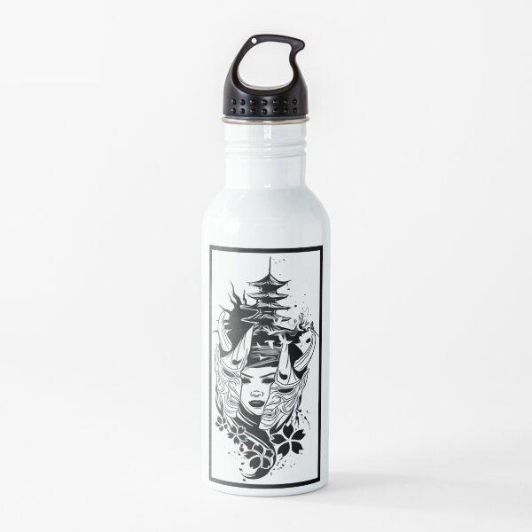 Mujer japonesa y máscara Botella de agua