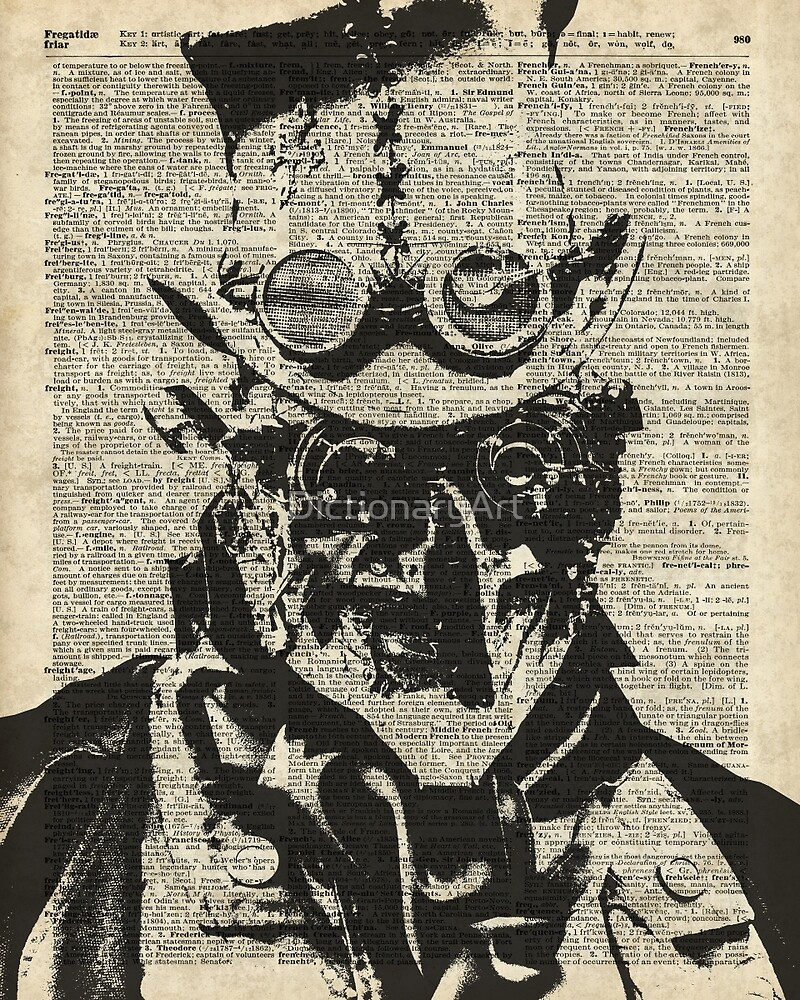 Steampunk guy Robo-man stencil,Robot,Dictionary Art by DictionaryArt