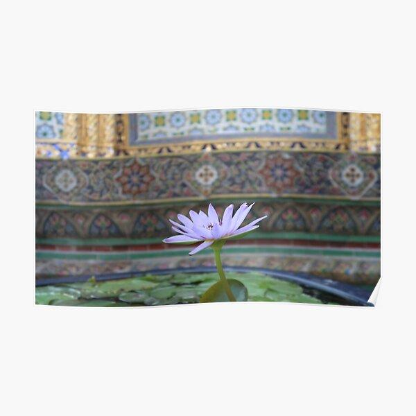 Bangkok Temple Flower Poster