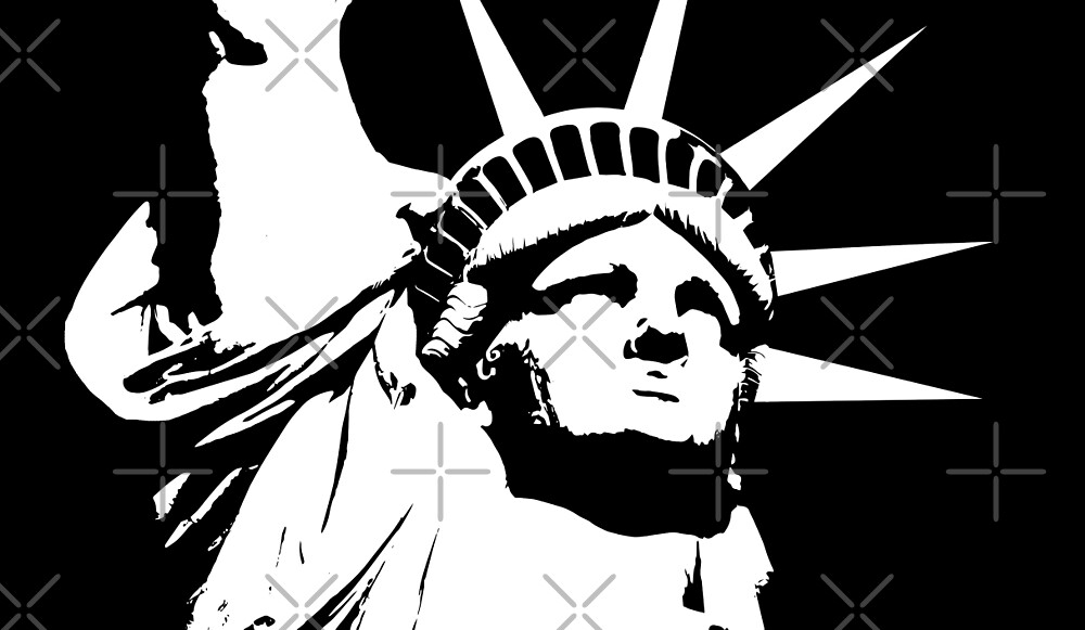 Statue of Liberty, Black and White Design by limitlezz
