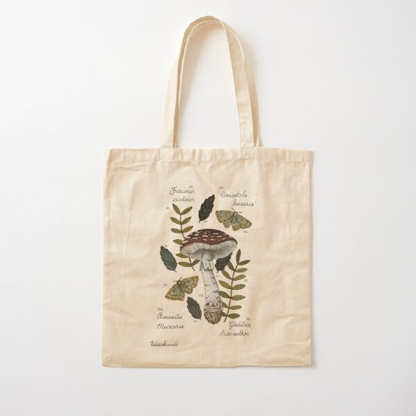 Amanita Muscaria with moths and leaves botanical illustration Cotton Tote Bag