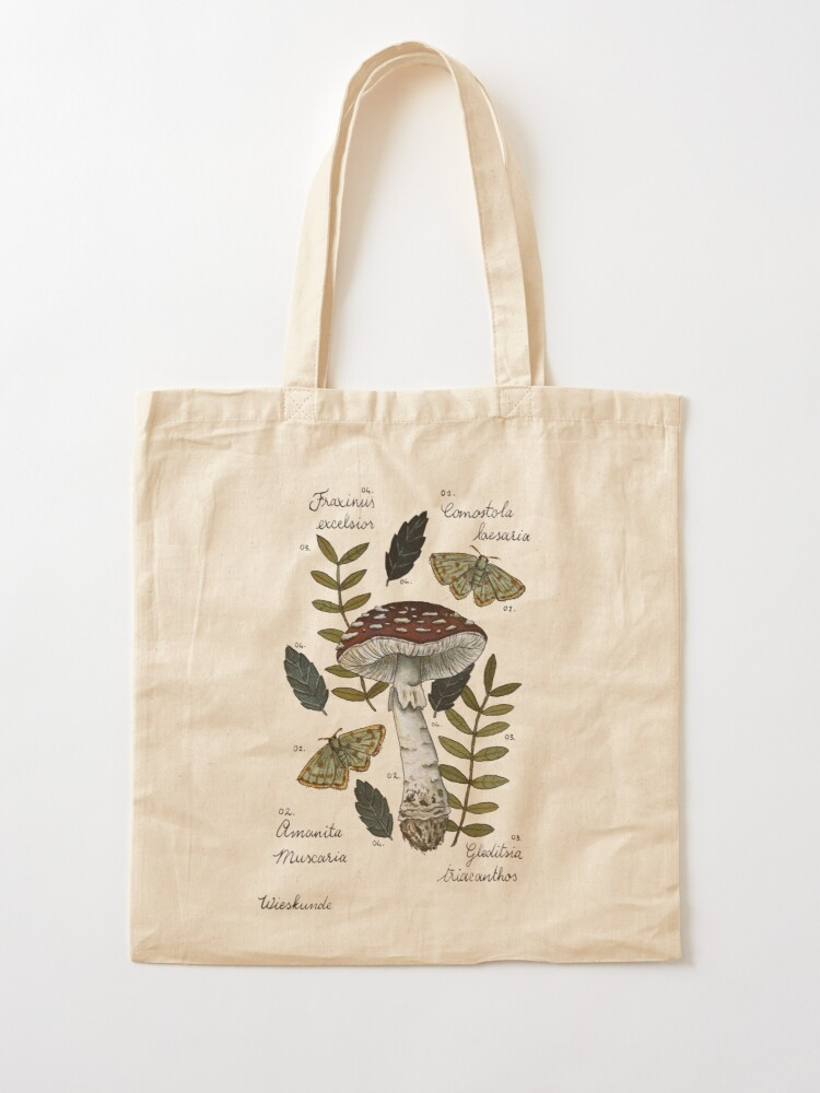 Alternate view of Amanita Muscaria with moths and leaves botanical illustration Tote Bag