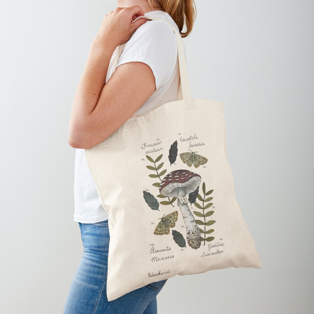 Amanita Muscaria with moths and leaves botanical illustration Tote Bag