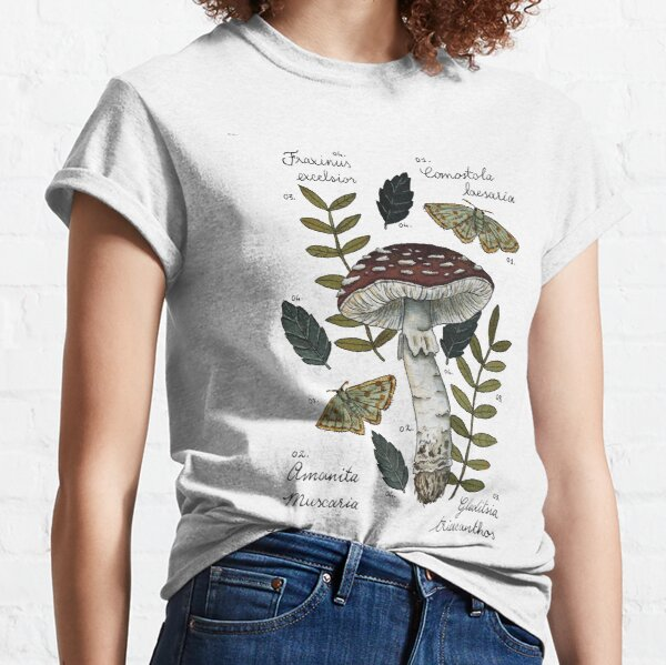 Amanita Muscaria with moths and leaves botanical illustration Classic T-Shirt