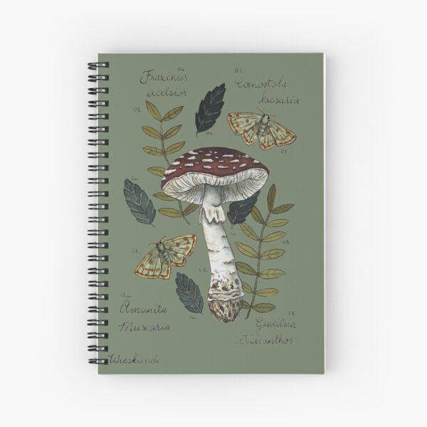 Amanita Muscaria with moths and leaves botanical illustration Spiral Notebook