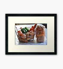 Vegetables and whole wheat bread. Framed Print