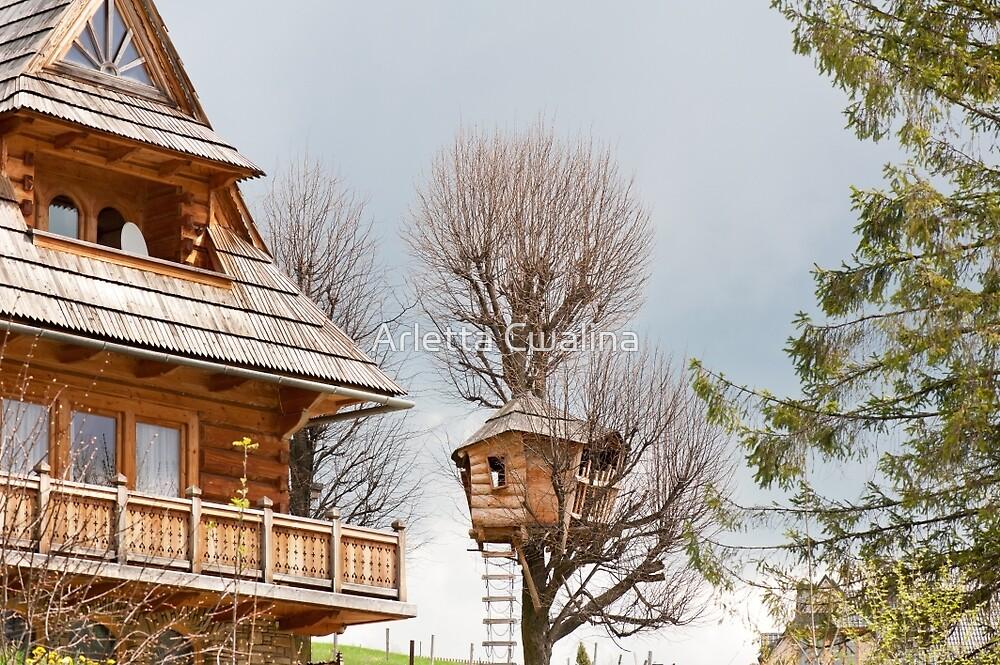 Fairy wooden tree house by Arletta Cwalina