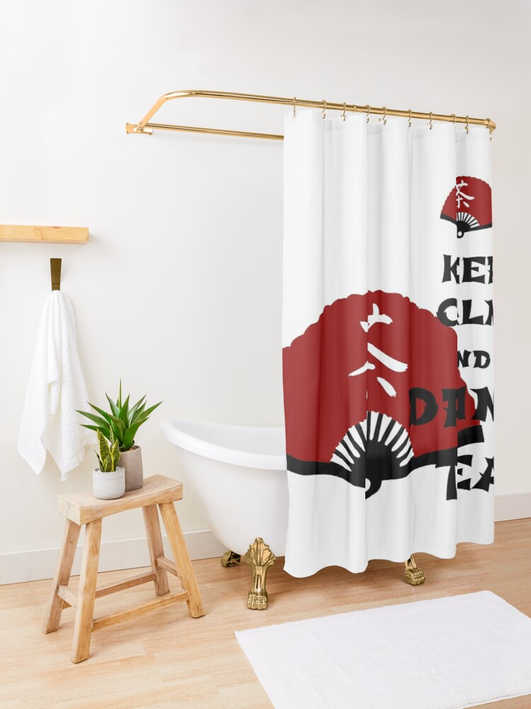 Alternate view of keep calm and drink tea - asia edition Shower Curtain