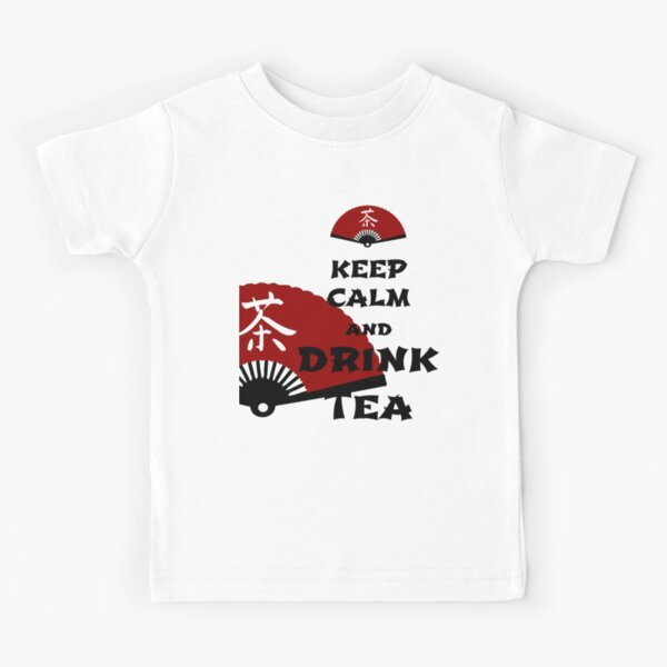 keep calm and drink tea - asia edition Kids T-Shirt