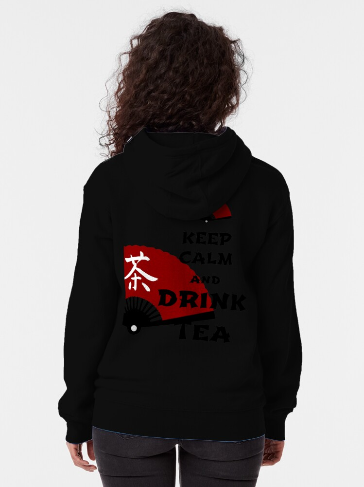 Alternate view of keep calm and drink tea - asia edition Zipped Hoodie